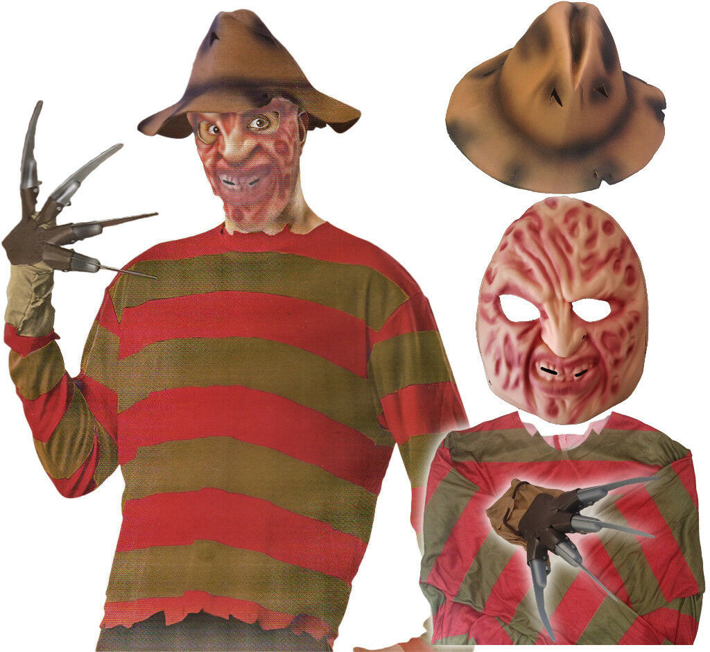 freddy krueger men's halloween fancy dress horror costume jumper hat