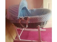 Baby blue moses basket