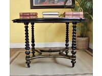 Superb Howard & Sons London 1880s Library Table with Leather Ebonised Furniture