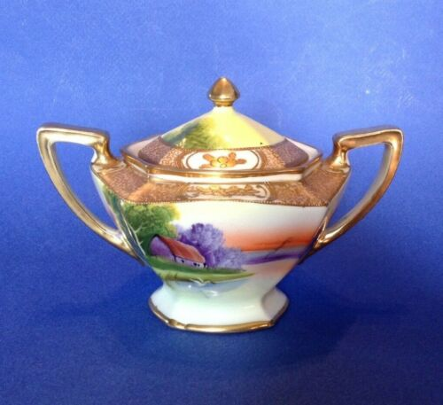 Noritake Sugar Bowl - Hand Painted Tree In The Meadow With Gold Moriage - Japan