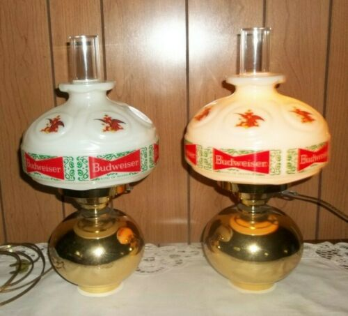 2 VINTAGE ANHEUSER BUSCH BUDWEISER HANGING  WALL LAMPS Sconces  WORK