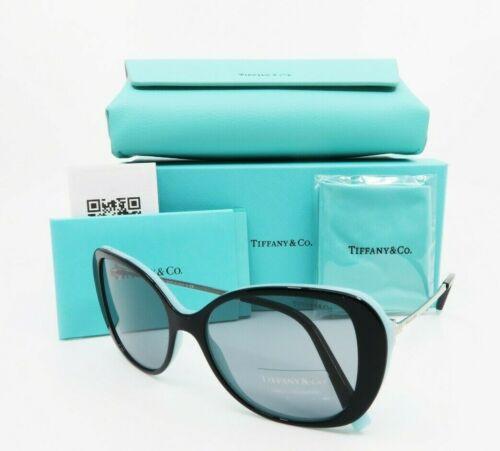 Tiffany & Co. Black & Blue Square Women Sunglasses New wCase TF 4156 8055 55mm