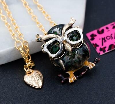 New Betsey Johnson Gold Rhinestone Enamel Owl Chain Necklace Brooch Gift