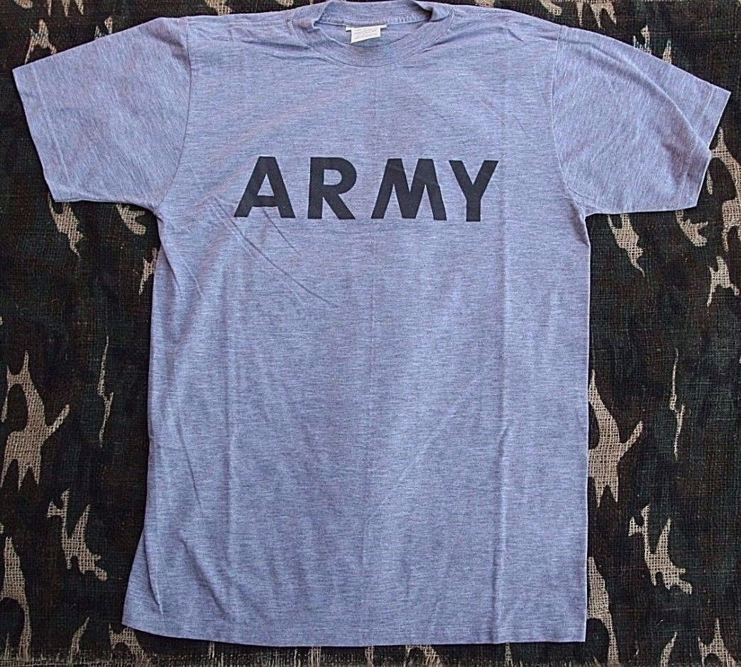 *EXCELLENT COND* GENUINE US ARMY T SHIRT PT PHYSICAL FITNESS - GRAY - USA MADE
