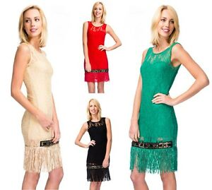 Ladies-Vintage-Luxe-Lace-Tassel-Flapper-Look-Style-Jewelled-Accents-Fringe-Dress