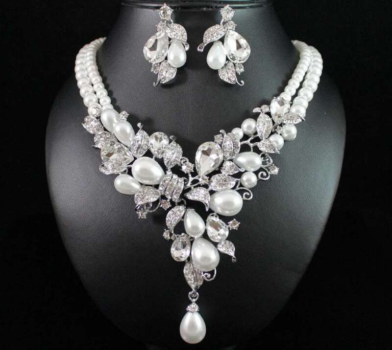 FLORAL PEARL AUSTRIAN RHINESTONE NECKLACE EARRINGS SET BRIDAL PROM N1873 SILVER
