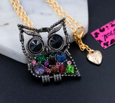 New Betsey Johnson Colorful Rhinestone Crystal Owl Chain Necklace Brooch Gift