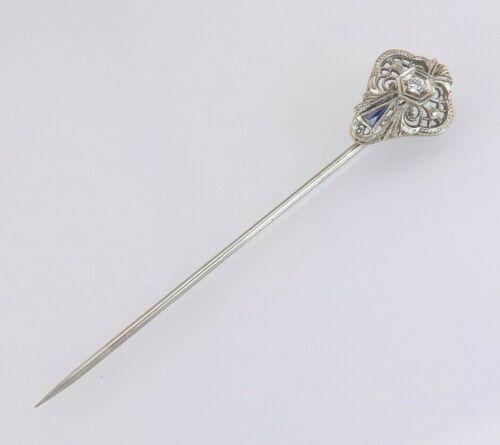 Antique Estate 14K White Gold Genuine Diamond & Sapphire Art Deco Stick Pin