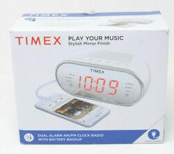 """Timex T2312W AM/FM Dual Alarm Clock Radio w/ Digital Tuning 1.2"""" Red LED Display"""