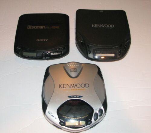 SONY DISCMAN & KENWOOD  LOT OF 3 VINTAGE MEDIA CD PLAYER TESTED & WORKING D-133