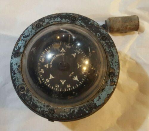 Antique MARINE COMPASS PILOT MFG. CO. BRASS LIGHTED