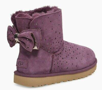 NEW UGG Uggs STARGIRL Bow Mini Boots Suede Port Purple Plum Perforated 9 EUR 40 - Purple Bow Ugg Boots