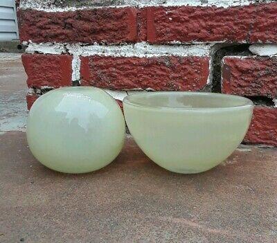Henry Dean Belgium Vintage Glass Vase & Bowl set Beige Green Excellent