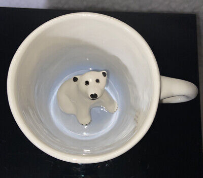 Spademan Pottery Collectible Coffee Mug Polar Bear Ivory 3D Surprise ANIMUGS 👌 Ivory Coffee Mug