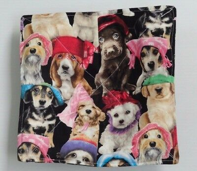 Dogs in hats bones on back Microwave cozy for hot bowls FREE US SHIPPING