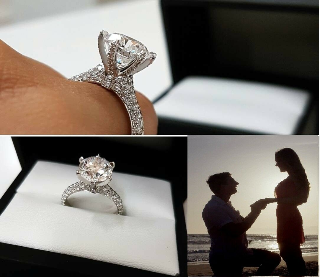 2Ct.Round-Cut 14K White Gold Over Solitaire Diamond Engageme