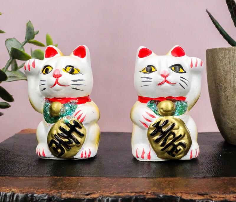 Japanese Right And Left Paws Beckoning Cat Maneki Neko Ceramic Figurine Set of 2