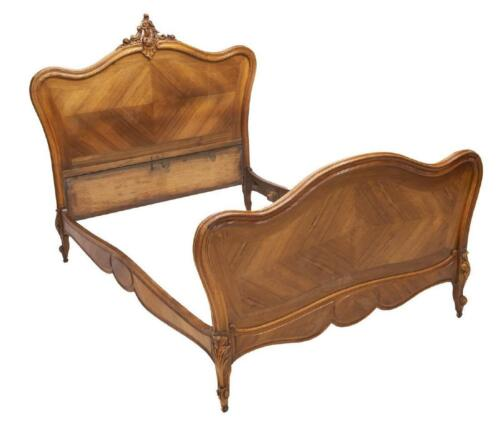FRENCH LOUIS XV STYLE CARVED WALNUT BED, 19th century ( 1800s )