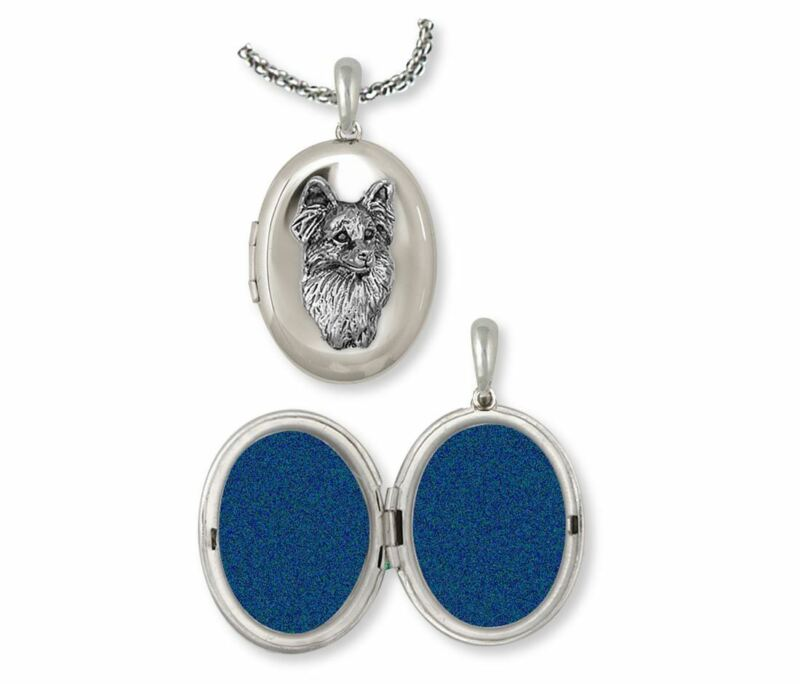 Papillon Photo Locket Jewelry Sterling Silver Handmade Dog Photo Locket PA2-V