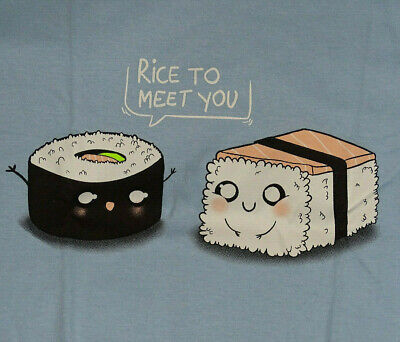 BRAND NEW QWERTEE RICE TO MEET YOU TSHIRT size XL FUNNY SUSHI