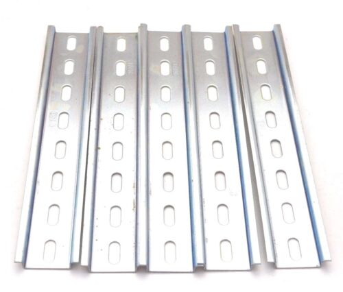 5 Stained Pieces DIN Rail Slotted Steel Zinc Plated RoHS 8 in. long 35mm 7.5mm