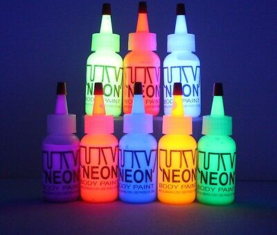 Body Paint, BLUE UV NEON, FLOURESCENT, STAGE, Air Brush, RAVE PARTY BLACK - Uv Neon Body Paint