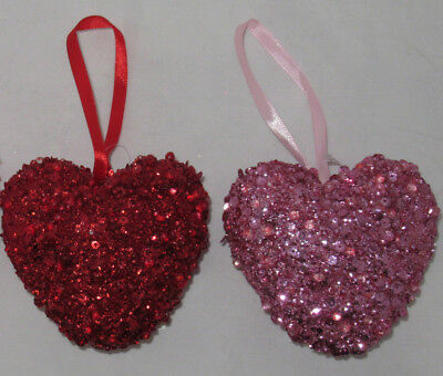 Heart Shaped Ornaments (Ashland Valentine's Day Sequin Glitter HEART SHAPED ORNAMENT You Pick red)