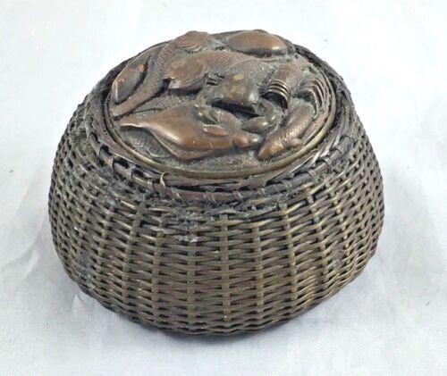 Meiji Period Bronze Fish Basket Inkwell