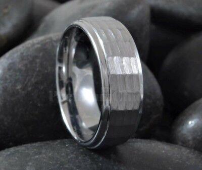 Tungsten Carbide Men's Engagement Wedding Band Ring Hammer Cut 6mm 8mm Cut Tungsten Wedding Ring