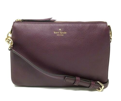 Kate Spade Madelyne Larchmont Avenue Deep Plum Leather Crossbody Bag $249 Clothing, Shoes & Accessories