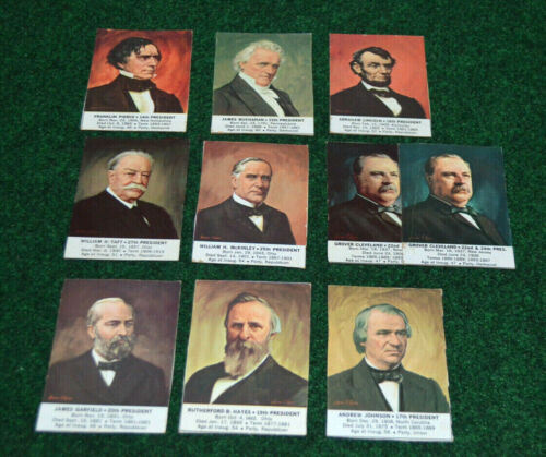 United States Presidents 1964 General Mills Cereal Ten Card Lot