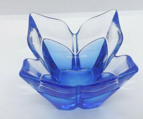 Orrefors Lars Hellsten Blue Glass Lotus 4 Petal Bowl