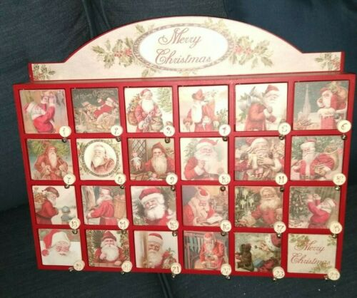 Advent Calendar Vintage Santa Countdown to Christmas Wood Box