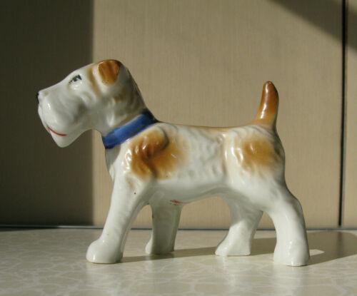 """Vintage Wire Fox Terrier Figurine 4"""" Blue Collar ...Japan"""