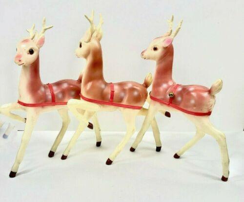 "Lot of 3- Vintage Large Deer Plastic Molded Japan Christmas Reindeer 13"" Tall"