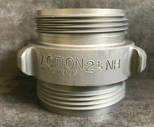 """Aluminum Fire Hose Adapter, 2.5"""" M.NST(NH) x 2.5"""" M.NST(NH) Rocker Lug"""