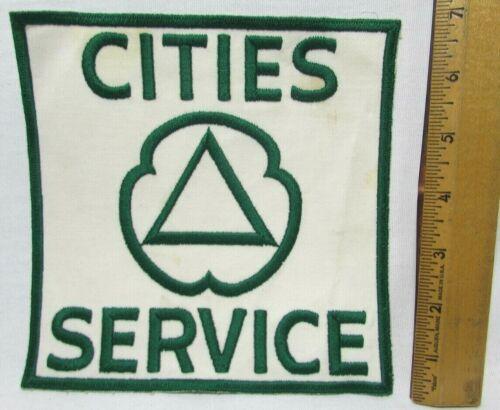 "Vintage Cities Service Gas XL Uniform Back Patch 7"" White Green NOS Pre Citgo"