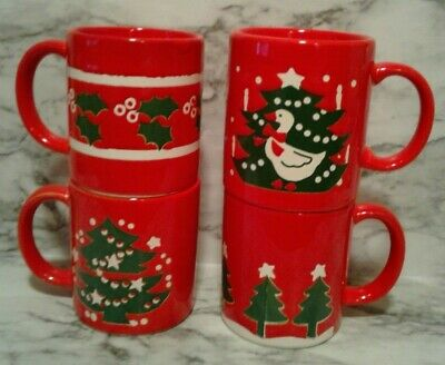 4 Different Red CHRISTMAS Mugs Cups Trimmed TREE Farm Goose Holly Berry Trim  ()
