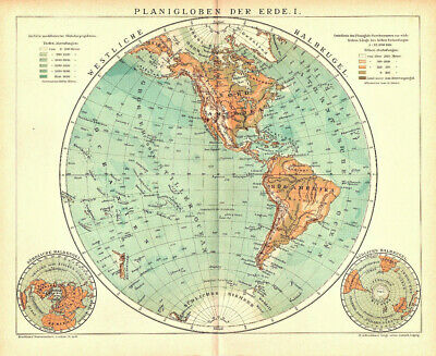 2 Lithographs Planigloben Der Earth From 1906 Globe World Map Antique Map