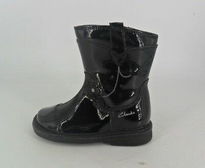 Clarks Gypsy Joy Black Patent First Boots UK 5.5 EU 22 F Fit JS086 EE 11