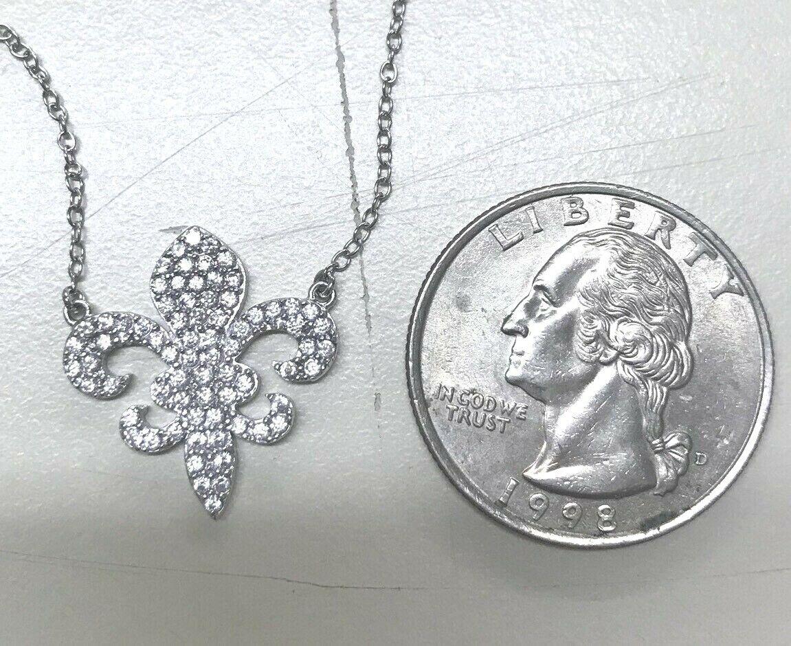 Sterling Silver Pave CZ Fleur De Lis Saints NOLA Kappa Kappa Gamma Flor Necklace - $20.00
