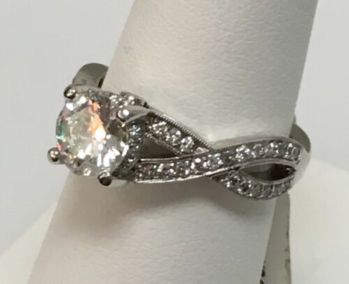 Platinum Engagement Ring Diamond 1.01ct H/SI1 GIA Certificate Size 5.75 1