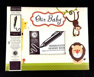 Our Baby Photo Album Stickers Zoo Theme Personalizable Memory Book New