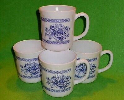 4 arcopal FRANCE ' HONORINE ' pattern cups blue & white ROSES and other designs.