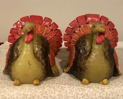 NOS Lot of 2 TURKEY CANDLES Thanksgiving Table Fall Decor Never Lit
