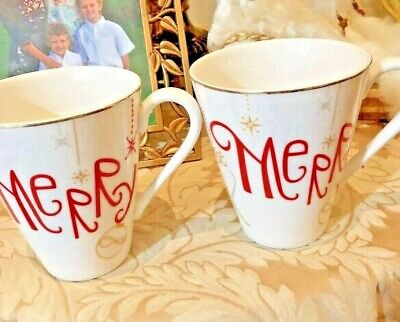 Lenox Christmas Eat Drink And Be Merry Porcelain Coffee Mugs - Set Of Two - EUC