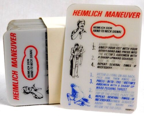 Vintage NOS Xograph safety card Heimlich Maneuver Lenticular 3d Hologram