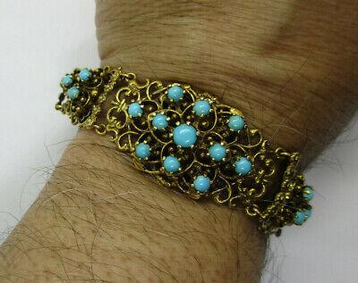 Vintage 14K Gold Turquoise Bracelet  All Genuine Natural Turquoise  7