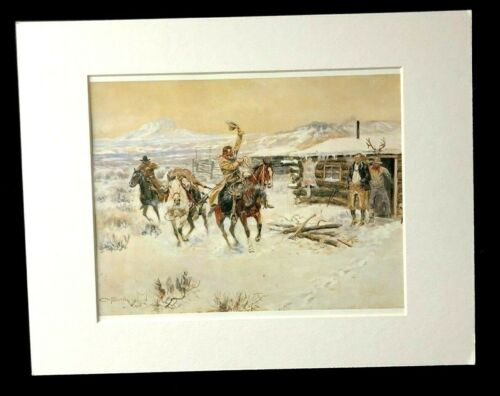 """Charles M Russell """"Christmas at the Line Camp"""" 11 x 14 Matted Western Print"""