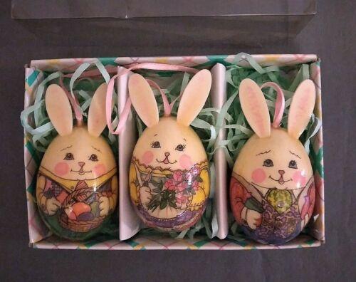 Vintage 3 Piece Decoupage Bunny Rabbit Easter Celebration Egg Ornaments Boxed